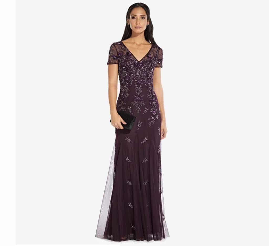 Adrianna Papell Floral Beaded Godet Gown Review
