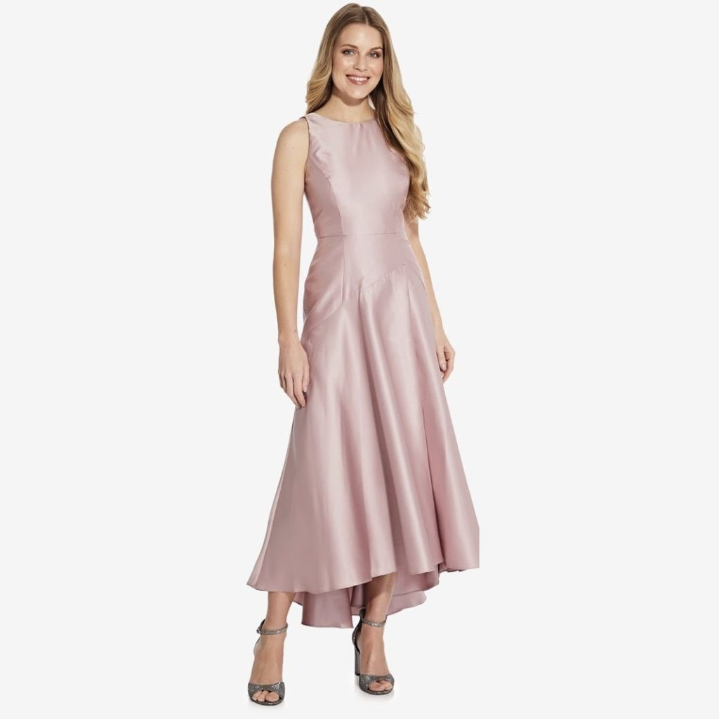 Adrianna Papell Mikado Drop Waist High-Low Gown Review
