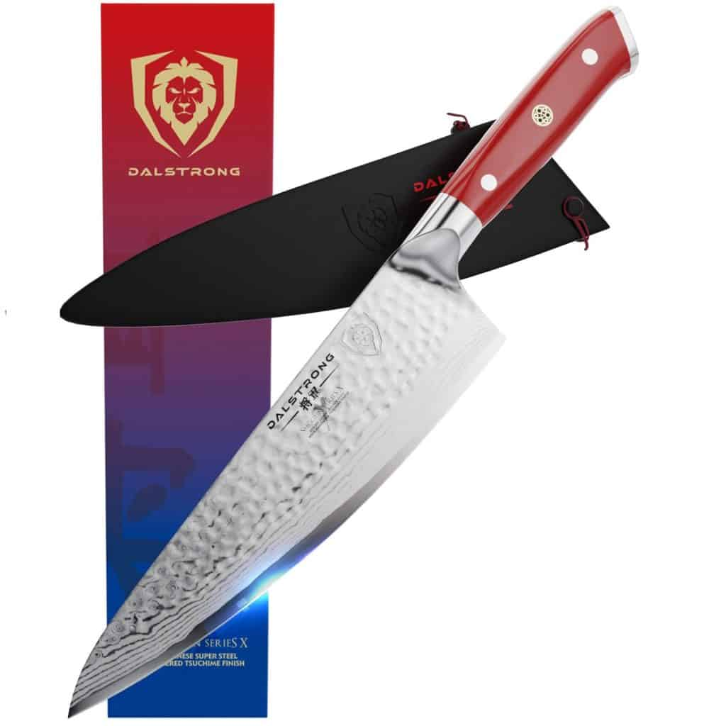 """Dalstrong Shogun Series X 8"""" Chef Knife with Crimson Red Handle Review"""