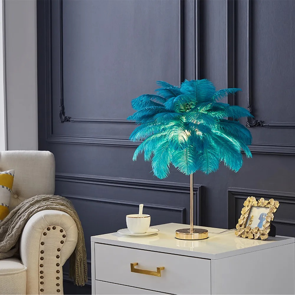 Homary Green Feather Gold Table Lamp Review