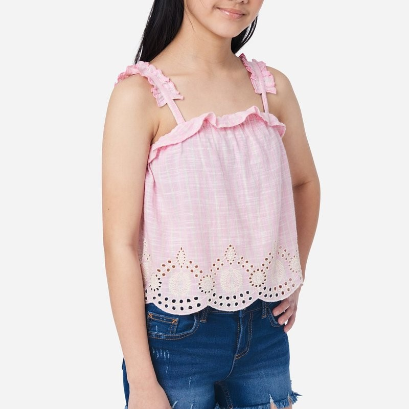 Justice Striped Eyelet Girls Tank Review