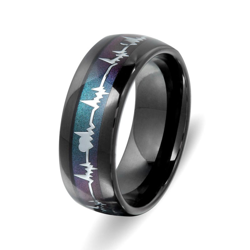 Vancaro Mens Black Wedding Band Titanium Ring With Colorful Heartbeat Review